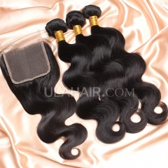 【8A 3pcs+closure】Ula Hair 8A Malaysain Body Wave 3 Bundles & Lace Closure Free Shipping 12-32 inches