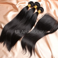 【8A 3pcs+closure】Ula Hair 8A Malaysian Straight 3 Bundles & Lace Closure Free Shipping