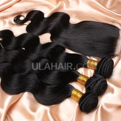 【14A 3pcs+closure】 Peruvian Body Wave 3 Bundles & Lace Closure Free Shipping