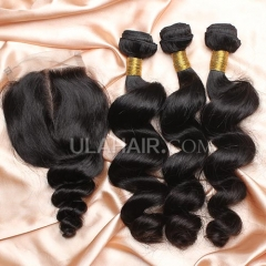 【14A 3pcs+closure】Peruvian Loose Wave 3 Bundles & Lace Closure Free Shipping