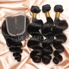 【14A 3pcs+closure】Brazilian Loose Wave 3 Bundles & Lace Closure Free Shipping