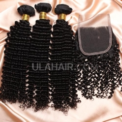 【8A 3pcs+closure】Ula Hair 8A Brazilian Kinky Curly 3 Bundles & Lace Closure Free Shipping 12-32 inches