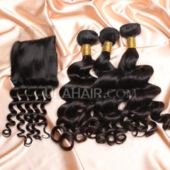 【14A 3pcs+closure】 Brazilian Loose Curl 3 Bundles & Lace Closure Free Shipping 12-32 inches