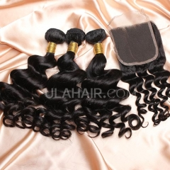 【8A 3pcs+closure】Ula Hair 8A Malaysian Loose Curl 3 Bundles & Lace Closure Free Shipping 12-32 inches