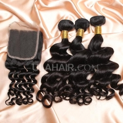 【14A 3pcs+closure】Peruvian Loose Curl 3 Bundles & Lace Closure Free Shipping 12-32 inches