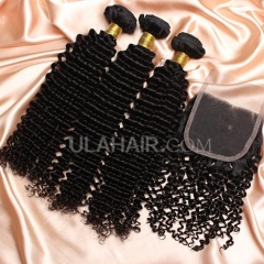 【8A 3pcs+closure】Ula Hair 8A Malaysian Kinky Curly 3 Bundles & Lace Closure Free Shipping 12-32 inches