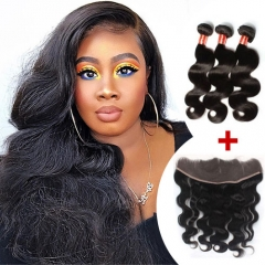 Ula Hair 7A Brazilian Body Wave Human Hair 3pcs and 1pc Lace Frontal Closure Deal Brazilian Hair Extensions