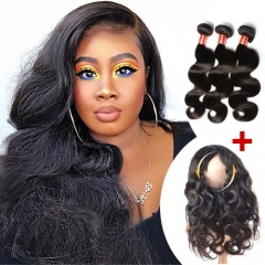 Ula Hair 7A Brazilian Body Wave 360 Lace Frontal  With Three Bundles Extension Super Deal 3+1 PC 360 Lace Frontal Closure Free Shipping