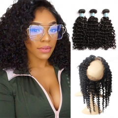 Ula Hair 7A Brazilian Deep Wave 360 Lace Frontal  With Three Bundles Deep Wave Extension Super Deal 3+1 PC 360 Lace Frontal Closure Free Shipping