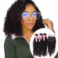 Ula Hair 7A Brazilian Deep Wave Curly Virgin Hair 3pcs and 1pc Lace Closure Deal Brazilian Hair Extensions