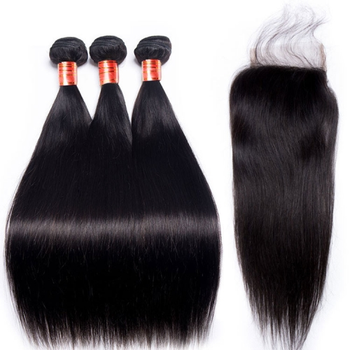 【12A 3PCS+Closure】Fast Shipping Malaysian Straight Virgin Hair 3pcs with Lace Closure Virgin Hair Bundles Free Shipping