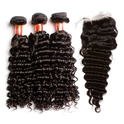 【12A 3PCS+ 4*4 Closure】Peruvian Deep Wave Virgin Human Hair 3pcs with 4*4 Lace Closure Unprocessed Hair Bundles Free Shipping