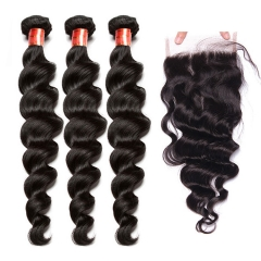 【12A 3PCS+ 4*4 Closure】Brazilian Loose Wave Virgin Human Unprocessed Hair 3pcs with 4*4 Lace Closure Hair Bundles Free Shipping