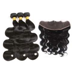 【13A 3PCS+Frontal】Brazilian Body Wave Human Hair 3pcs and Lace Frontal Closure Brazilian Hair