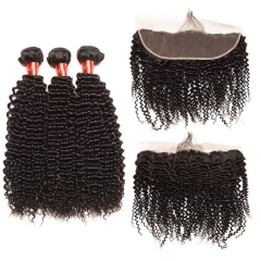 【12A 3PCS+Frontal】 Brazilian Deep Wave Human Hair 3pcs and 1pc Lace Frontal Closure Brazilian Curly Human Virgin Hair Free Shipping