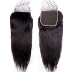 【12A】 Straight Hair 4*4 Lace Closure Middle/Free/Three Part Natural Color Human Unprocessed Hair