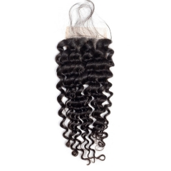 【12A】Deep Curl 4*4 Lace Closure Middle/Free/Three Part Natural Color Curly Human Hair