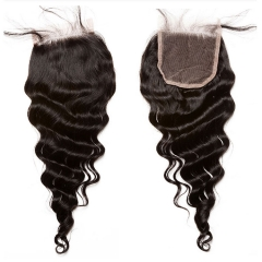 【12A】 Loose Wave Human Hair 4*4 Lace Closure Middle/Free/Three Part Natural Color Unprocessed Hair