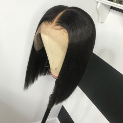 【12inch In Stock】Affordable! 13A 180% Density 13x4 Lace Front Wig Straight Short BOB Hair Virgin Hair 13x4 Lace Frontal Human Hair