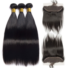 【13A 3PCS+Frontal】 Brazilian Straight Human Hair 3pcs and 1pc Lace Frontal Closure Deal Brazilian Hair Extensions