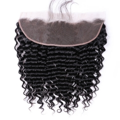 【13A】 Deep Wave Lace Frontal Closure Human Hair 13x4 Lace Frontal Closure