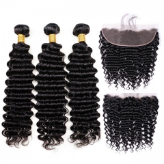 【13A 3PCS+Frontal】 Deep Wave Bundles With Frontal Brazilian Hair Lace Frontal Closure With Bundle Human Hair 3pcs and 1pc Lace Frontal Closure