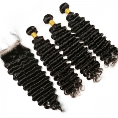 【13A 3PCS+Closure】 Peruvian Deep Wave Virgin Human Hair 3pcs and 1pc Hair Lace Closure Free Shipping Bundles with Closure