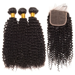【13A 3PCS+Closure】 Peruvian Deep Curly Virgin  Human Hair 3PCS Bundles with 1PCS Lace Closure Free Shipping