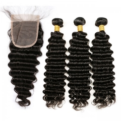 【13A 3PCS+Closure】Brazilian Deep Wave Virgin Human Hair 3pcs and 1pc Curly Hair Lace Closure Free Shipping