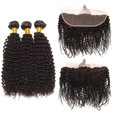 【13A 3PCS+Frontal】 Peruvian Deep Curly Human Hair 3PCS Bundles with 1PC Lace Frontal Closure Deal Peruvian Hair Extensions Free Shipping