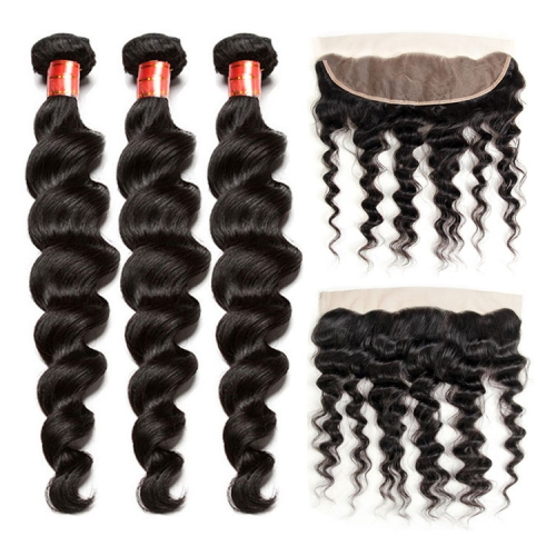 【12A 3PCS+ 13*4 Frontal】 Peruvian Loose Wave Human Hair Loose Wave 3pcs and 1pc 13*4 Lace Frontal Closure Brazilian Loose Wave Human Virgin Hair Free