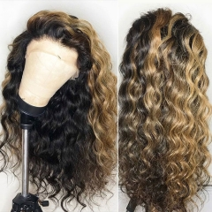Customize in 7 days! 13A Mix Color 150% Density Loose curly Lace Frontal Wig 100% Human Virgin Hair Swiss Lace ULW08
