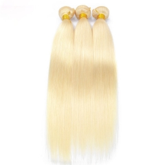 【12A 3PCS】#613 Peruvian Straight 3pcs Hair Bundles 100% Human Hair  Blonde Straight Hair Extension Free Shipping