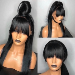 13A 180% Density Full Straight 13x6 Lace Front Wigs With Bangs Virgin Human Hair Lace Wigs Customize for 7 days!