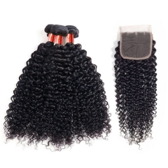 【12A 3PCS+Closure】Brazilian Curly Virgin Human Unprocessed Hair Bundles 3pcs with Lace Closure Free Shipping