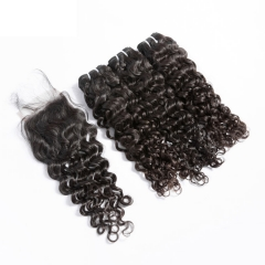 【12A 3PCS+ 4*4 Closure】Fast Shipping Malaysian Italy Curl Virgin Human Unprocessed Hair Bundles 3pcs with 4*4 Lace Closure High Quality Hair Free Ship