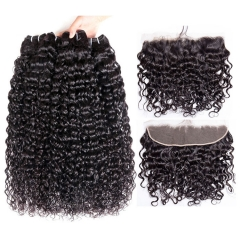 【12A 3PCS+ 13*4 Frontal】 Malaysian Italy Curl Human Hair 3pcs and 1pc 13*4 Lace Frontal Closure Malaysian Italy Curl Human High Quality Hair Free Ship