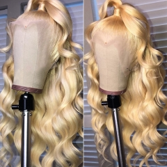 13A Grade 180% Density Body Wave 613# Blonde Color 13x4 Lace Front Wigs Virgin Natural Human Hair Hand-tied Wigs Customize in 3 Days!