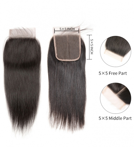 【12A】 5*5 Straight HD Undetectable Transparent Lace Closure Hair Lace Closure Middle/Free/Three Part Natural Color Human Unprocessed Hair