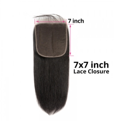 【12A】 Straight Hair 7*7 Lace Closure Middle/Free/Three Part Natural Color Human Unprocessed Hair
