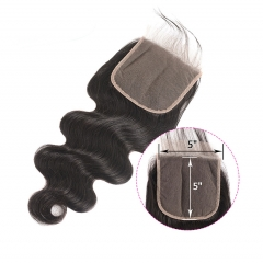 【12A】 Body Wave Hair 5*5 Lace Closure Middle/Free/Three Part Natural Color Human Unprocessed Hair