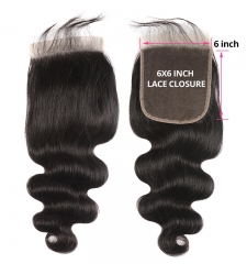 【12A】 Body Wave Hair 6*6 Lace Closure Middle/Free/Three Part Natural Color Human Unprocessed Hair