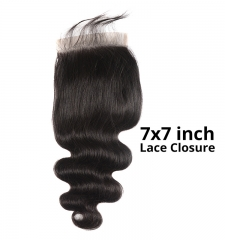 【12A】 Body Wave Hair 7*7 Lace Closure Middle/Free/Three Part Natural Color Human Unprocessed Hair