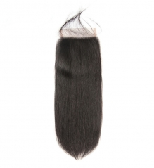 【12A】 Straight Hair 5*5 Lace Closure Middle/Free/Three Part Natural Color Human Unprocessed Hair