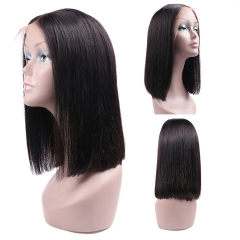 【In stock】Cheap! 13A 150% Density Heavy-full Straight Bob L Part Lace Wig Human Virgin Natural Black Hair