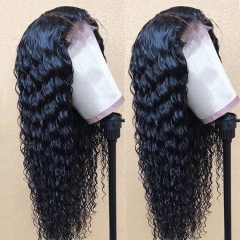 13A Deep Wave Hair 360 Lace Frontal Wigs 150% Density Curly Hair Virgin Human Hair Frontal Wig