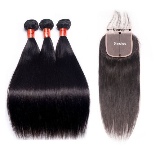 【12A 3PCS+HD 5*5 Closure】Straight Virgin Human Hair 3pcs with Undetectable Transparent HD 5*5 Lace Closure Unprocessed Hair Bundles Free Shipping