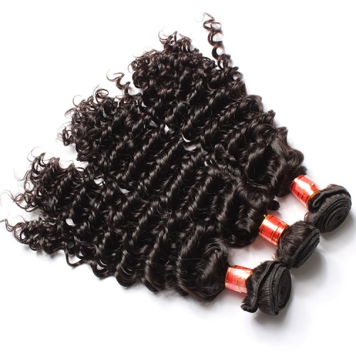 【12A 4PCS】 Deep Curly Hair Bundles Deep Curly Peruvian Virgin Human Hair No Shedding No Tangle Free Shipping