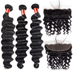 【12A 3PCS+ 13*4 Frontal】 Malaysian Loose Deep Wave Human Hair 3pcs and 1pc 13*4 Lace Frontal Closure Malaysian Loose Curly Human Virgin Hair Free Ship