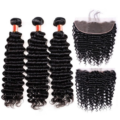 【12A 3PCS+ 13*4 Frontal】 Brazilian Deep Wave Human Hair 3pcs and 1pc 13*4 Lace Frontal Closure Brazilian Curly Human Virgin Hair Free Shipping